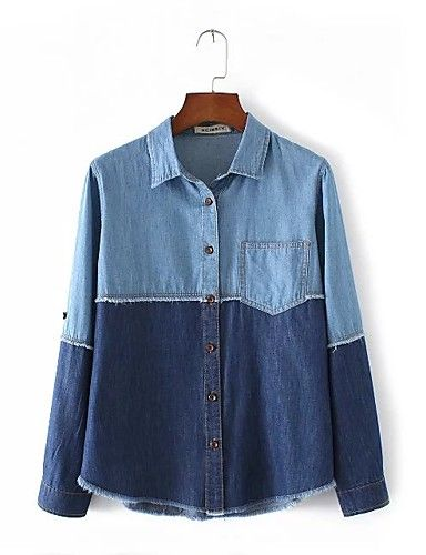 Feminino Camisa Social Para Noite Casual Simples Fofo Moda de Rua Primavera Outono,Estampa Colorida Algodão Outros Colarinho de Camisa de 6201254 2017 por R$35,90