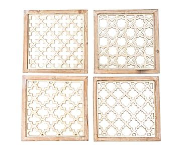 Set de 4 paneles decorativos de madera DM, plateado - 40x40 cm