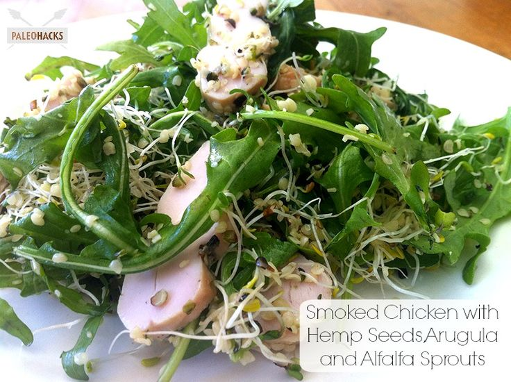 Smoked Chicken with Hemp Seeds, Arugula