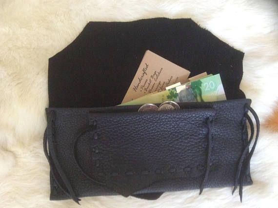 Ladies Wallet Navy Blue Deer Hide Leather Check Book Wallet