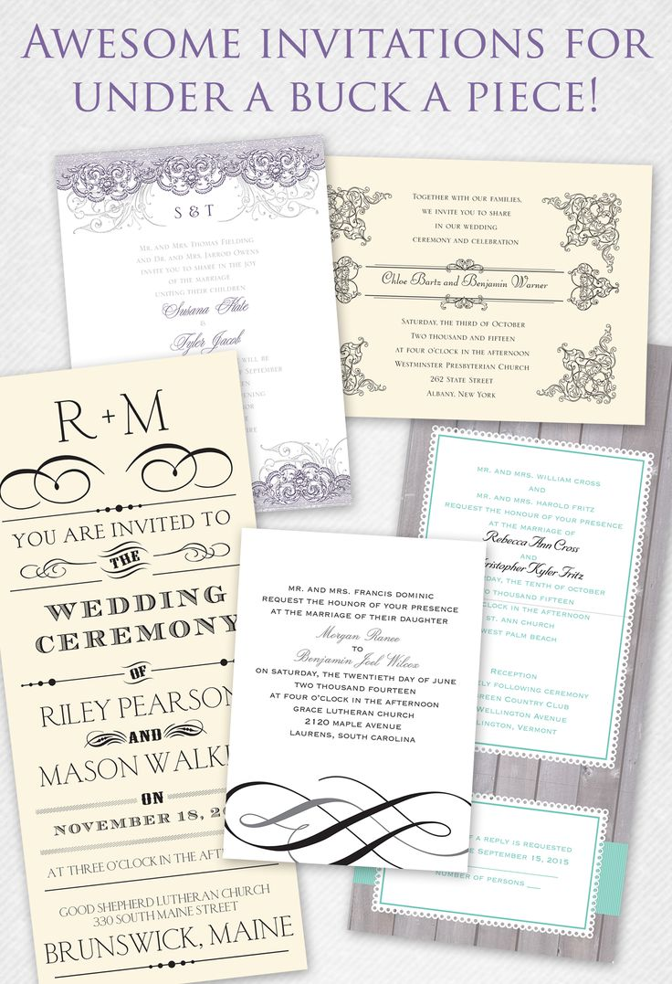 talk about affordable! wedding invites under $1 a piece!