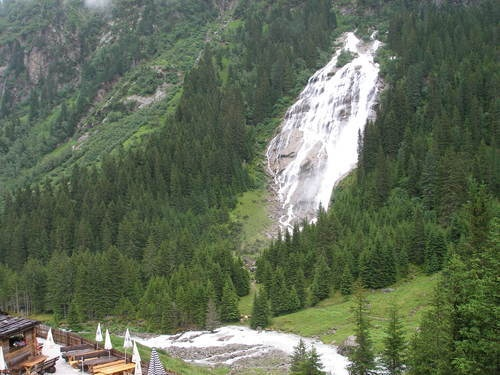 Grawa Waterfall in the distance;  Neustift, Stubai Valley, Tyrol, Austria
