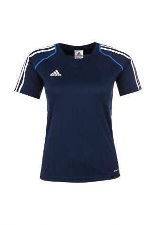 Футболка Adidas Performance выполнена из легкого материала темно-синего цвета. Модель изготовлена по технологии Climacool. Детали: прямой крой, круглый вырез с эластичной вставкой, короткий цельнокроеный рукав, вставки из сетчатого текстиля по бокам и на вырезе, фактурный логотип марки, полосы на рукавах. http://j.mp/1lyZ0es