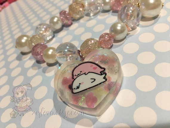Mamegoma Seal Friends Kawaii Pink And White Chunky Beads by zefora