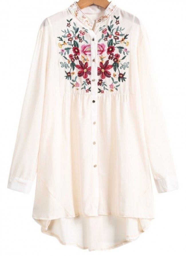 Apricot long sleeve embroidered dipped hem blouse #dress #buyable