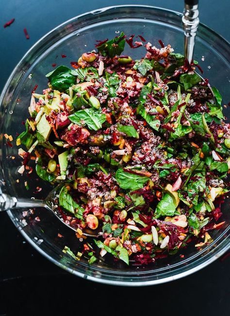 Colorful Beet Salad with Carrot, Quinoa and Spinach