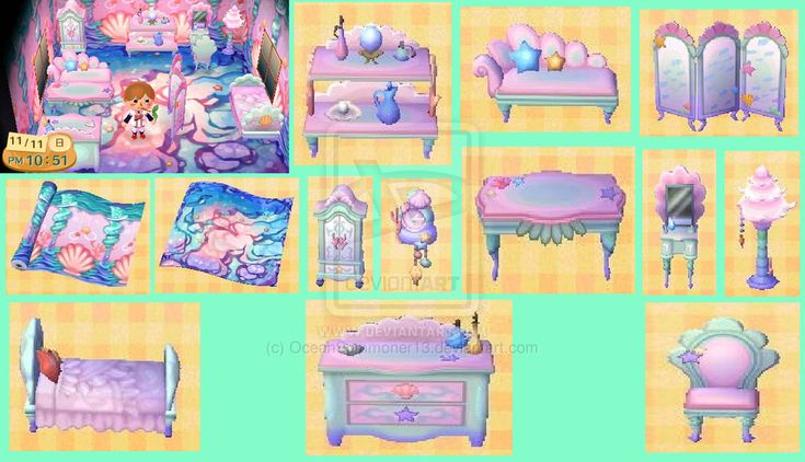 Mermaid Furniture Animal Crossing Petites Tenues Dans