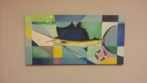 Cubist fish painting