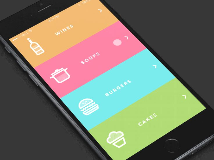 Great scroll animations on this restaurant menu UI.