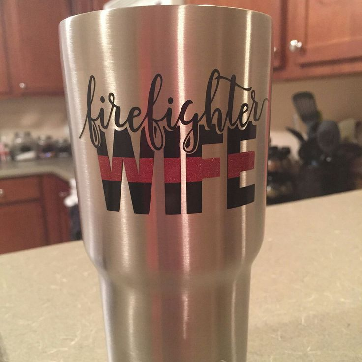 Custom firefighter wife decal for a 20 Oz RTIC tumbler with thin red line in glitter vinyl.