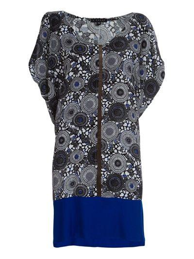 ALCAÇUZ Vestido Preto E Azul Estampado.
