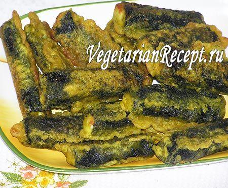 Вегетарианская «жареная рыба» Адыгейский сыр жареный в нори и кляре