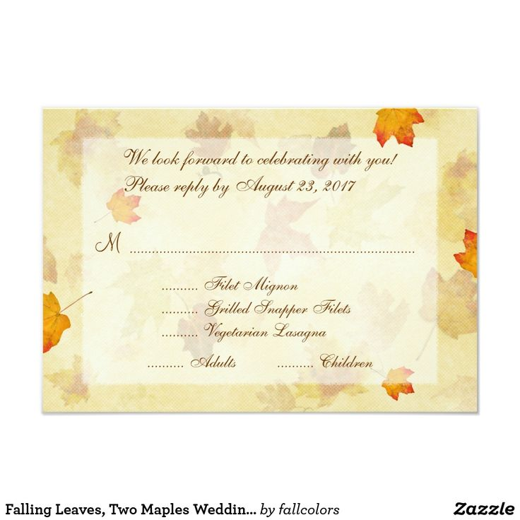 Maple leaves, fall wedding reply cards with menu list for guests.  Gold and orange autumn design. #fallmenu #fallreply #fallwedding #leaves