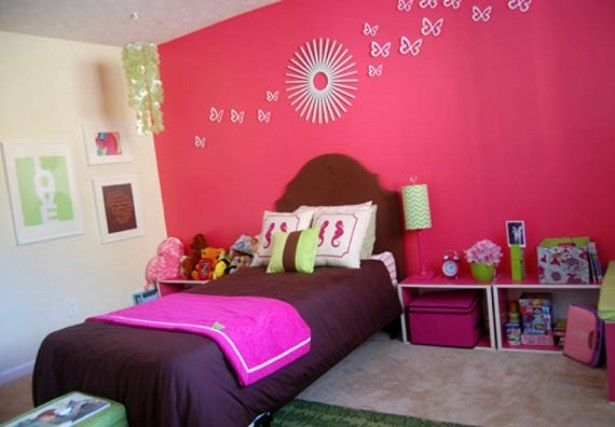 Sweet Pink White Girls Bedroom With Brown Bed Also Butterfly Wall Decor