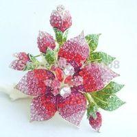 """5.5 """" великолепная цветок орхидеи брошка w розовый и красный горный хрусталь кристаллы EE04759C6"""