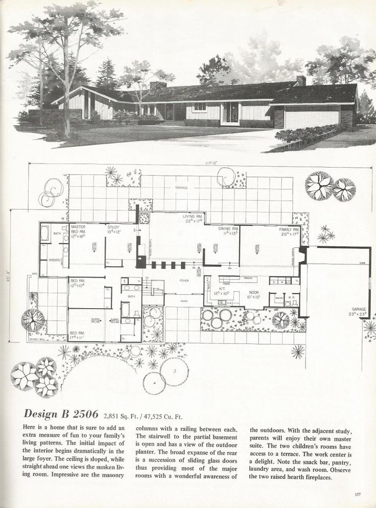 6139 best houses floor plans images on pinterest floor for Mid century modern blueprints