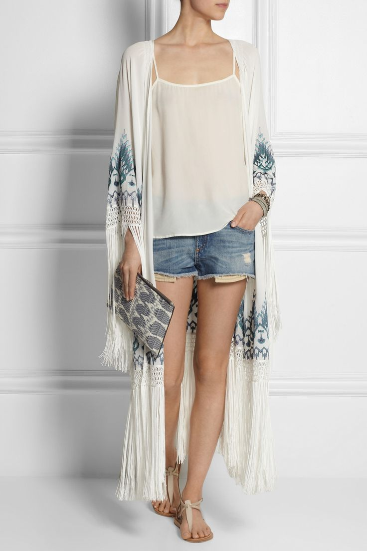 Talitha Myra fringed embroidered silk-georgette kimono jacket