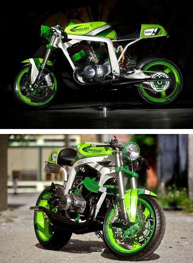 Kawasaki Motor, Ducati Front End, Suzuki Frame.  Put it all together, and it's Epic...