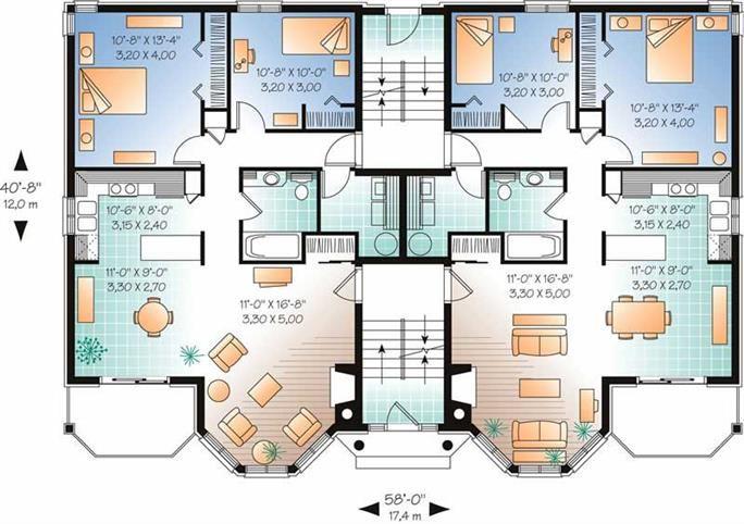 Multi Unit House Plan 126 1325 2 Bedrm 953 Sq Ft Per Unit Home Family House Plans House Plans House Floor Plans