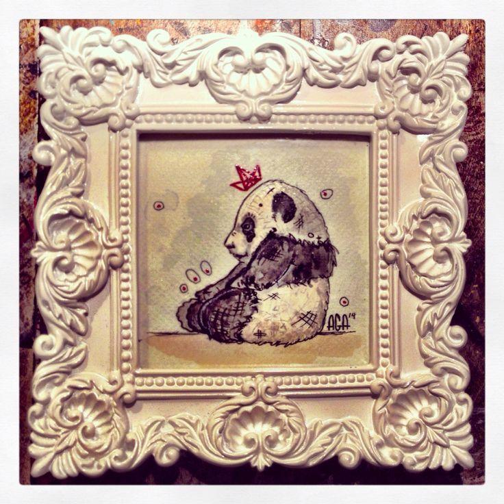 #AGA #agaartist #artist #art #work #watercolor #panda #bear #crown #paint #pencil #red