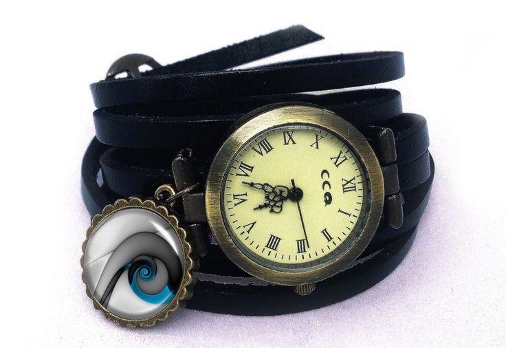 Leather watch bracelet - Blue snail, 0130WB6 from EgginEgg by DaWanda.com