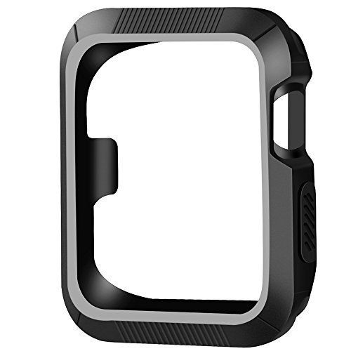 OULUOQI for Apple Watch Case 42mm Shock-proof and Shatter-resistant Apple Watch Protector iwatch Case for Apple Watch Series 3 Series 2 Series 1 NikeSport Edition- Black / Gray