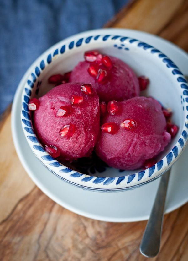 Pomegranate Ginger Sorbet | bloggingoverthyme.com