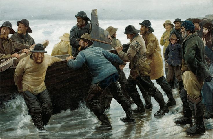 Michael Ancher (Danish, 1849-1927), Fishermen Launching a Rowing Boat, 1881. Oil on canvas, 120 x 183 cm.via tollosebio-stuff