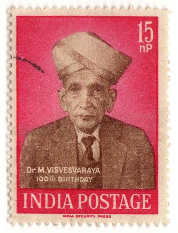 India, 1960. Sir Mokshagundam Visvesvaraya, KCIE, popularly known as Sir. MV; [1860-1962] was a notable Indian engineer, scholar, statesman and the Diwan of Mysore from 1912 - 18. He was a recipient of the Indian Republic's highest honour, the Bharat Ratna, in 1955. He was also knighted as a Knight Commander of the British Indian Empire (KCIE) by King George V for his contributions to the public good.