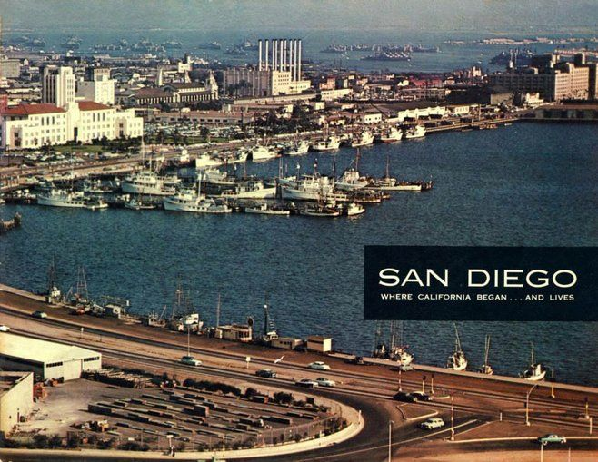 Very cool old postcard of the harbor shoreline! Photo by Vintage San Diego