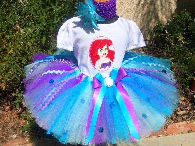 Turquoise Little Mermaid Ariel Sparkle Birthday Tutu Outfit