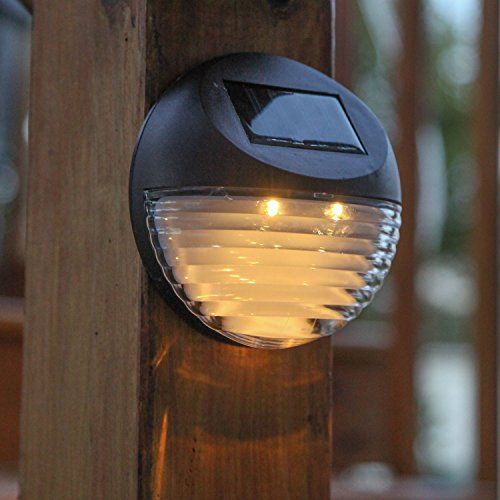 Set of 4 Super Bright Round Brown Solar Fence Lights