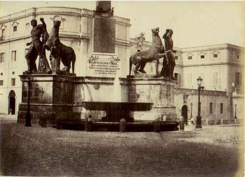 Rome, the Quirinale square, the Dioscuri 1870 (ca) Albumen print