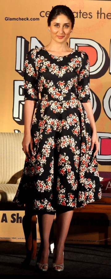 Kareena Kapoor in black floral print dress 2013 at Indian Food Wisdom DVD Launch