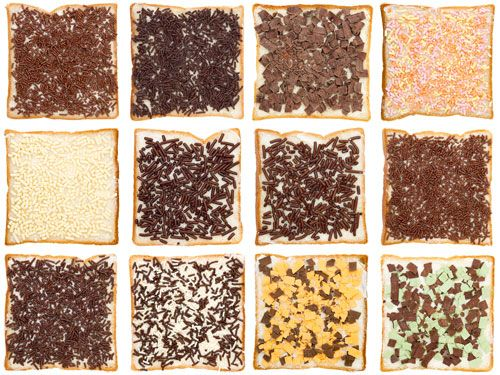 Dutch hagelslag (sprinkles) in so many variations these days ... The Dutch eat this  for lunch, on bread with butter !
