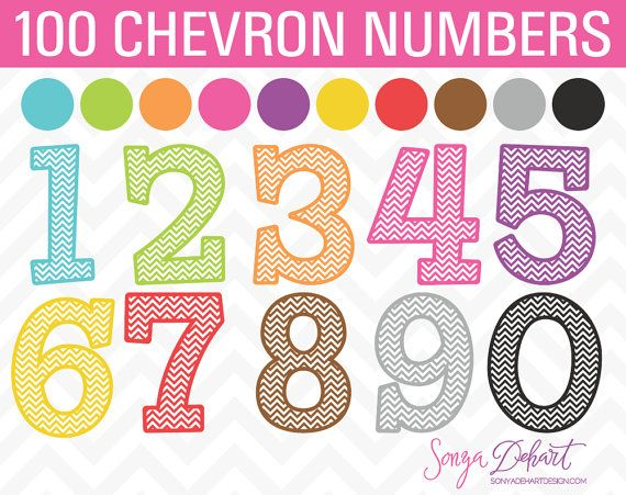 80% OFF SALE Clipart Chevron Numbers Set of by SonyaDeHartDesign