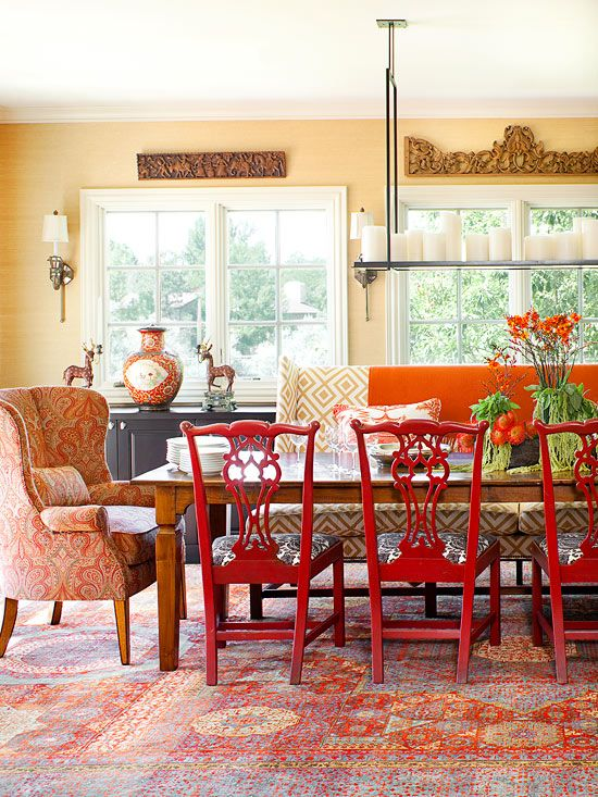 What a fun dinning room! Love the mix of chairs. For more decorating ideas inspired by fall colors: http://www.bhg.com/decorating/seasonal/fall/decorating-inspired-by-fall-colors/