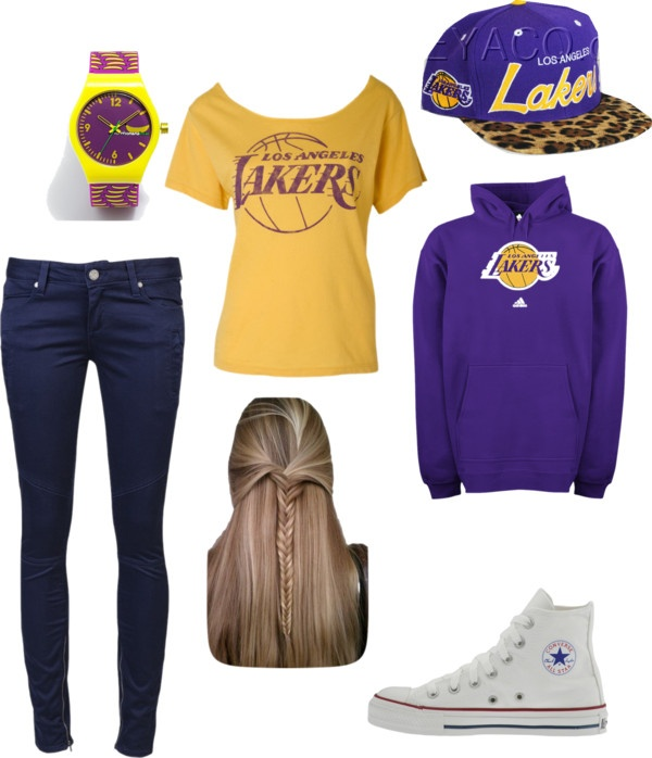 """lakers game"" by j9hernandez ❤ liked on Polyvore"