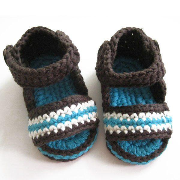 Летние сандалии для мальчика крючком
