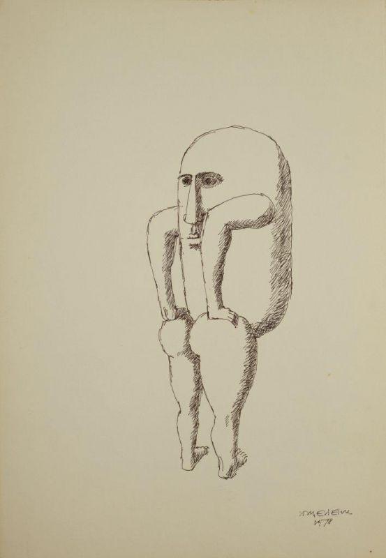 Sem Titulo 169)08 1978 Chinese Ink x Paper 50cm x35cm #JorgeVieira #sculpture #SaoMamede #art #drawings #visit #lisbon #gallery