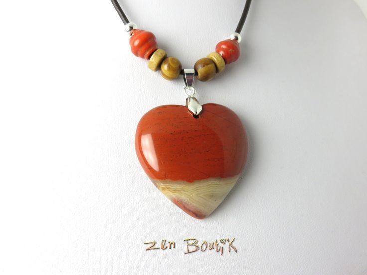 Collier Coeur, Saint Valentin, Collier Pierre Jaspe Rouge, Cordon Cuir et Perles Bois, Bijoux Zen Boutik : Collier par zenboutik