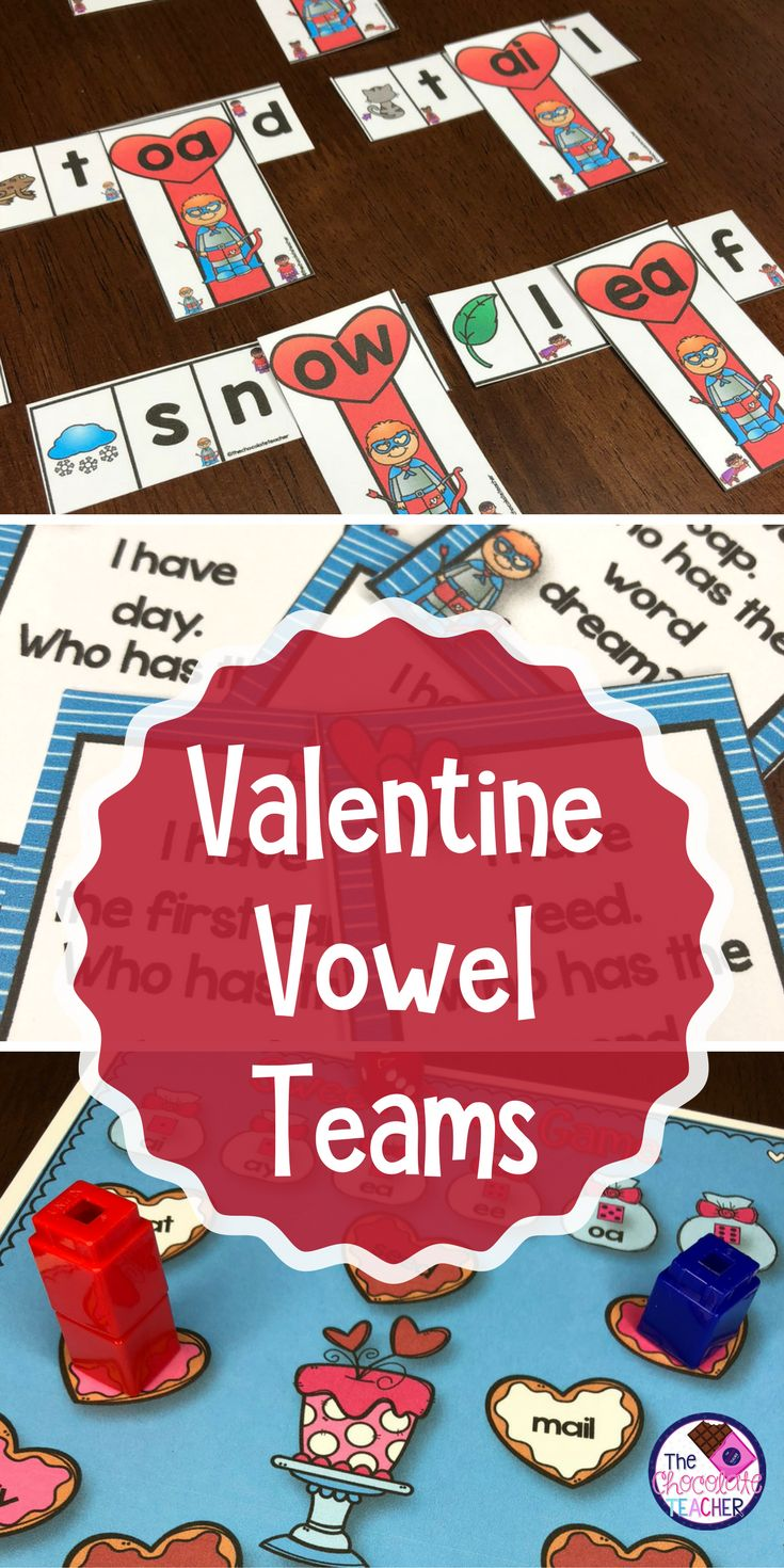 Valentine's Day is all about LOVE! Your first or second grade students will LOVE these vowel team activities. There are 3 games, a word building activity with a recording sheet, and fun worksheets. These activities are perfect for small groups or literacy centers. Your students will love practicing AI, AY, EA, EE, OA,and OW with this vowel team Valentine unit!