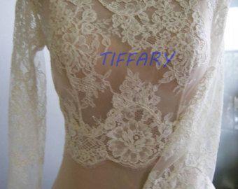 Wedding bolero, top, jacket of lace,alencon, sleeves, . Unique, Exclusive Romantic bridal bolero ASIA