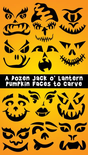 12 free stencils of pumpkin faces to carve, with video instructions.