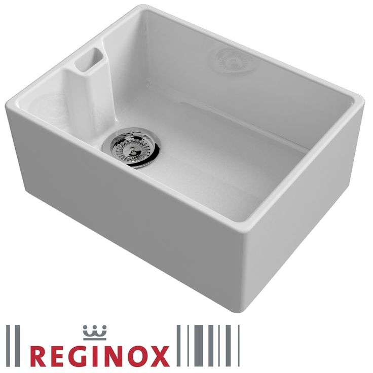 Reginox Belfast 600mm 1.0 Bowl Ceramic Kitchen Sink U0026 Waste In White