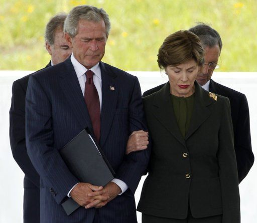 President George W Bush and First Lady Laura Shanksville PA Flight 93 Memorial