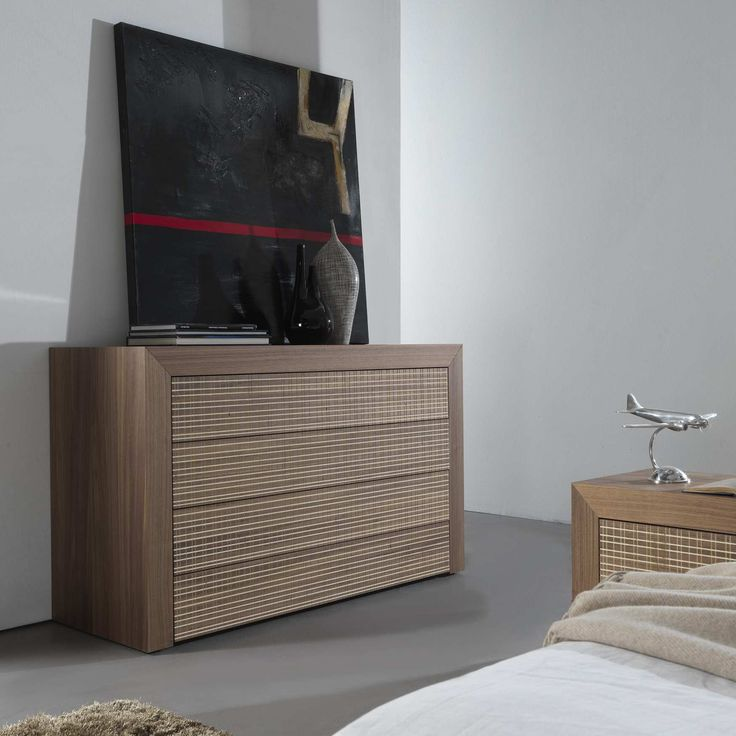 Contemporary resser with honeycomb structure 80 mm, 45°-assembled, front drawers with push-pull full extension | milanomondo
