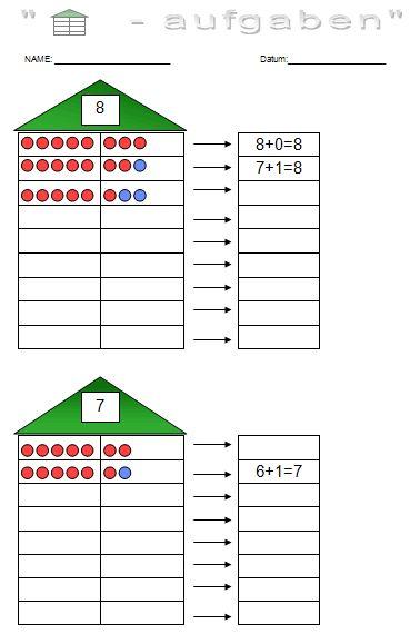 Rechnen bis 10 - Zahlzerlegung und addieren bis 10