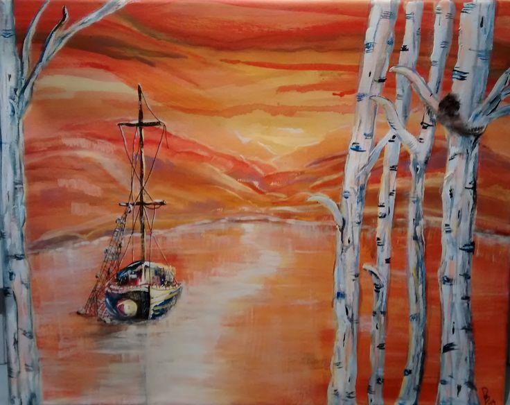"""Birch Bay"" 16 x 20"" canvas, acrylic #phatbroadart"