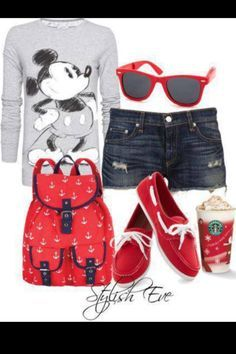 outfits for teenage girls!! Love Micky mouse and diggin that bag also shoes ♥